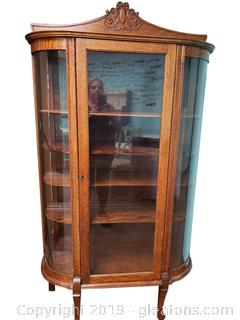 Antique Oak Curved Glass Curio China Cabinet On Casters