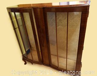 English Queen Anne Style Walnut Vitrine Cabinet