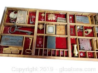 Hand Crafted Print Press Drawer With Collectibles B