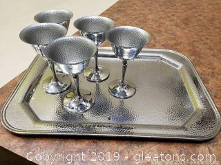 Chrome Plated Server With 5 Mini SHot Or Wine Tasters