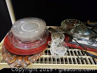 Shelf Lot Of Clear Glassware, Albums, Wooden Platter