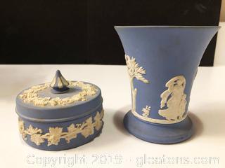 Set Of (2) Blue Jasper Wedgewood Bone China