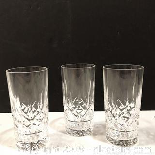 Set Of 3 No Marking Waterford Cut Crystal Drinking Glasses