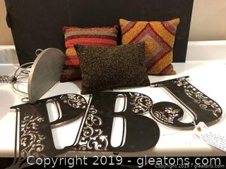 Mix Lot Sequin Pillows And Metal Wall Deco And Silver Shelf