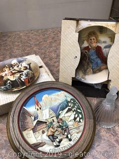 Lot Of Norman Rockwell And Knowles Fine China Plates And Goebet Bell