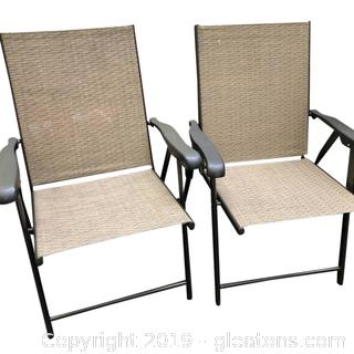 Pair Of Outdoor Patio Folding Chairs