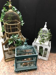 Lot Of Vintage Bird Cages With Silk Greenery And Birds One White One Gold And One Green