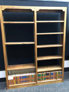 Large Solid Wood Book Shelf And Encylopedias