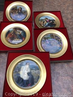 Lot Of 5 Beautiful Pickard China Christmas Plates