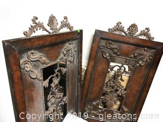 Pair Of Heavy, Metal Wall Decor