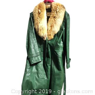 Ladies Long Belted Coat With Fur Collar