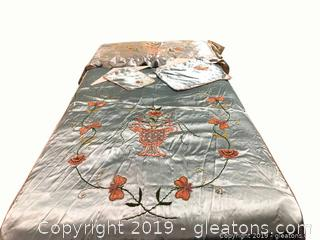 Vintage 4-PC. Silk Twin Bedspread