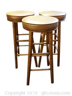 (3) Wooden Bar Stools With Cushion Top