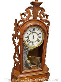 Antique Woodbury Wooden Matle Clock