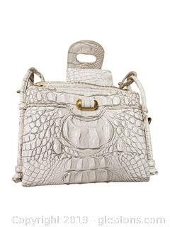 Small White Croc Cross-Body With Change Purse