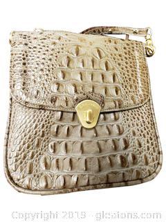 Taupe Color Croc Cross Body Handbag
