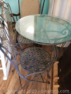 "30"" Glass Top Iron Table With (2) Folding Chairs"