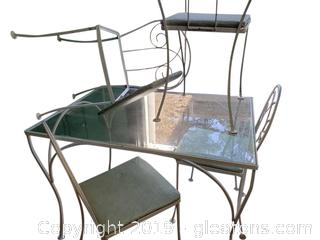 Adorable Small Dinette Metal Glass Top Table And (4) Chairs