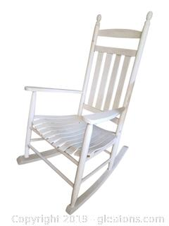 Set Of (2) White Wooden Slatted Bottom Rocking Chair
