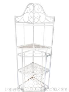 White Corner Metal/Iron Shelf With Wine Rack