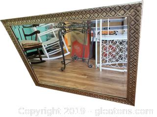 Large Gold Framed Lattice Look Beveled Wall Mirror