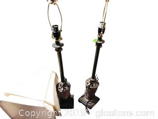 Pair Of Brass Lamps With Shades