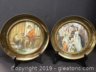 Set Of (2)  Brass Wall Plates Pictures Framed