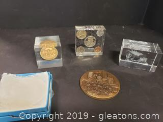 Set Of Paper Weights And Bronze Atlanta Medal