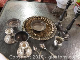 Lot Of Sterling, Brass And Pewter