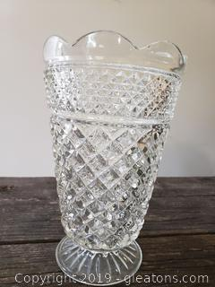"Wexford Heavy Large Lead Crystal Footed 10½"" Vase"