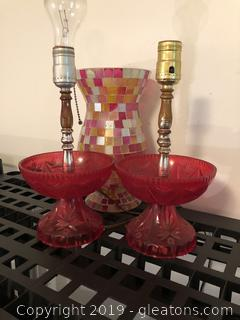 Vintage cut glass looking lamps and mosaic hurricane