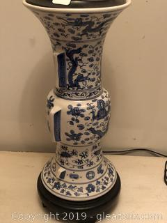 Blue Chinoiserie Lamp with teak top and base