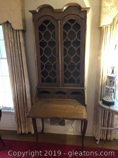 Italian Provencal Secretary with folding door, Fretwork,  and drawer