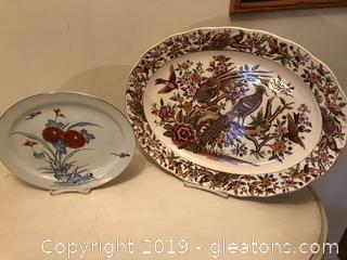 Lot of 2 Beautiful Serving Plate and Turkey Platter