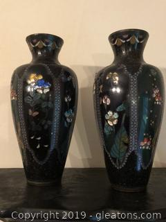 ANTIQUE CLOISENNE VASES