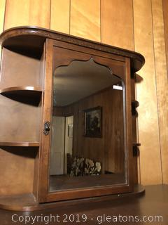 Wooden Tabletop or Hanging Cabinet with Mirror