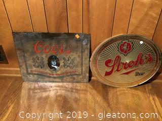 Mirrored Beer Signs Coors and Stroh's Beer