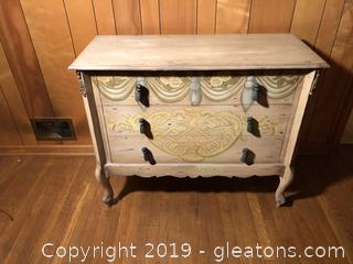 Distressed Hand Painted Trompe L'oeil Dresser with Metal Tassel Knobs and Detail