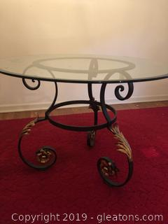 Beautiful Forged Iron Entry or Side Table with glass
