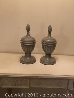 Large Painted Wood Urns with Lids