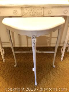 Shabby Chic Painted Demi Lune Table with onlays