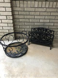 Lot of Vintage Iron Log Holders