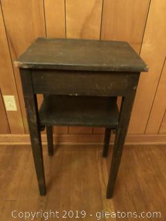Antique bedside table with drawer
