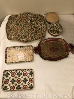Lot of Vintage Trays and Costers