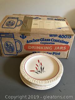 Vintage Laurella Bread Plates and Anchor Hocking Jars