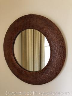 Vintage round embossed leather mirror