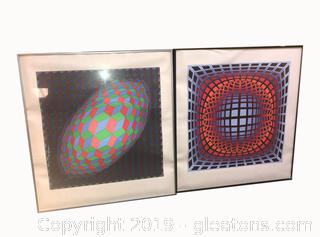 Lot of Two Large Wall Hanging Prints