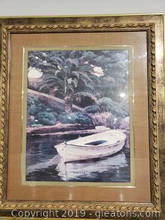 Large Framed Landscape with Boat Wall Art