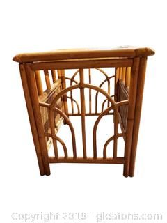 Small wicker Braided Bamboo look Glass Top End Table