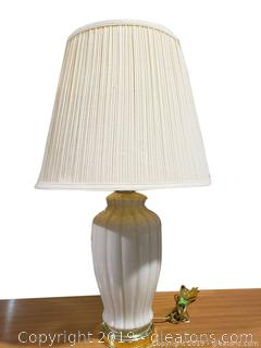 Cream Color Glass/Brass Base Table Lamp